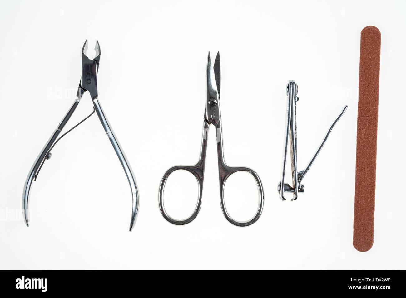 Nail care tools, nail clippers, nail scissors, nail nippers, nail files, - Stock Image