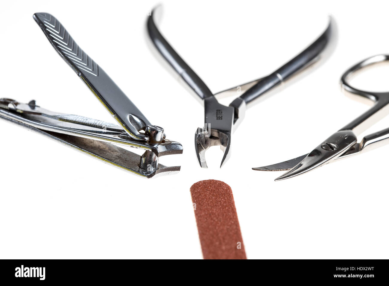 Nail care tools, nail clippers, nail scissors, nail nippers, nail files, - Stock Image