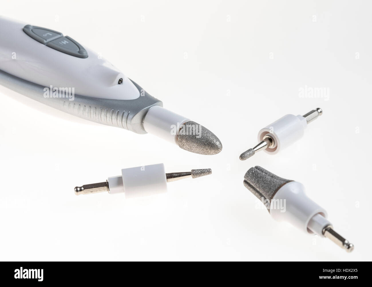 Nail care tools, nail files, electric nail files, emery board, - Stock Image
