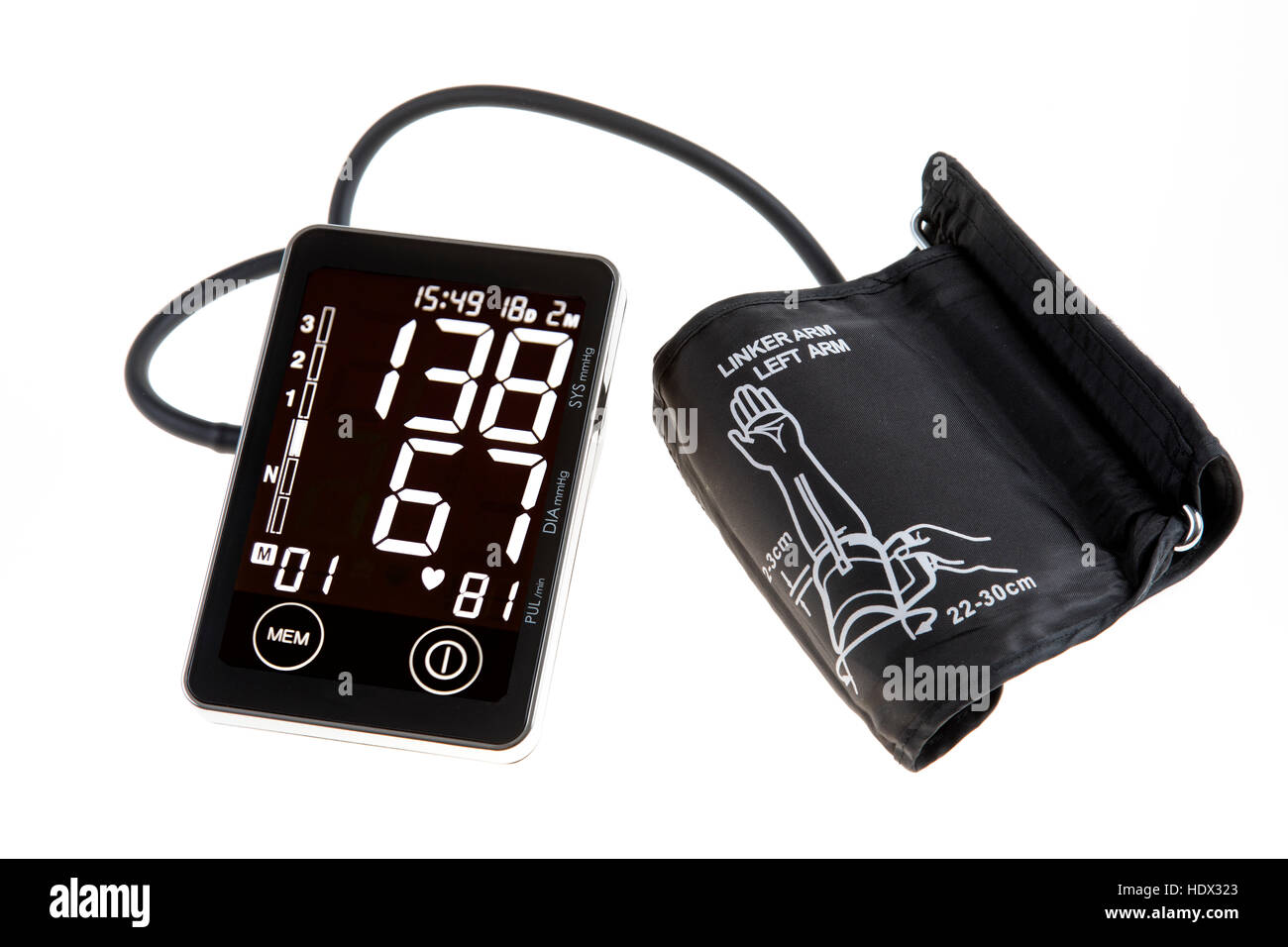 Blood pressure monitor, digital display, upper arm cuff, for self-measurement, - Stock Image