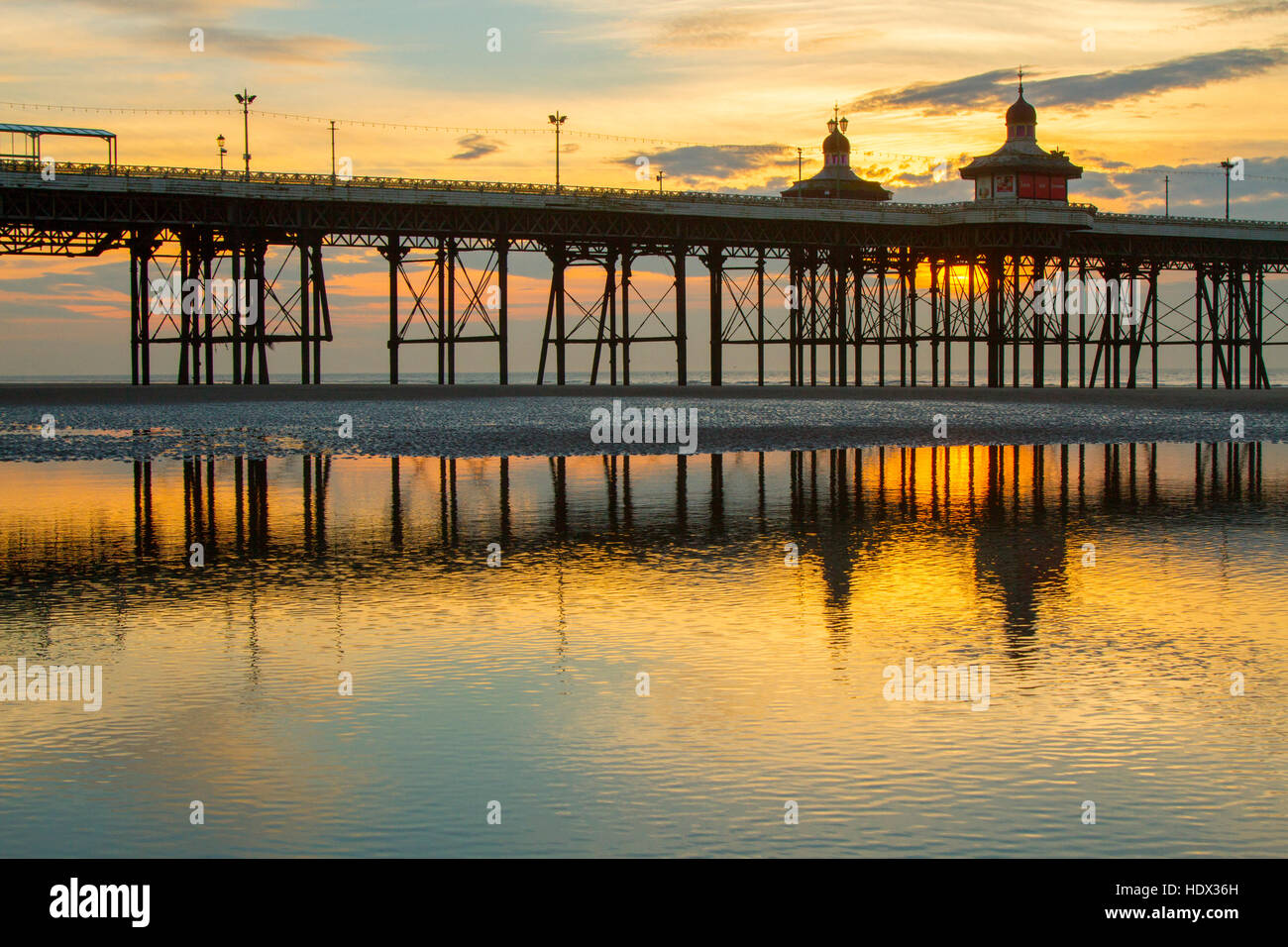 Blackpool, Lancashire, UK. 14th Dec, 2016. UK Weather: Sunset over Blackpool, Lancashire: 14th Dec 2016. - Stock Image