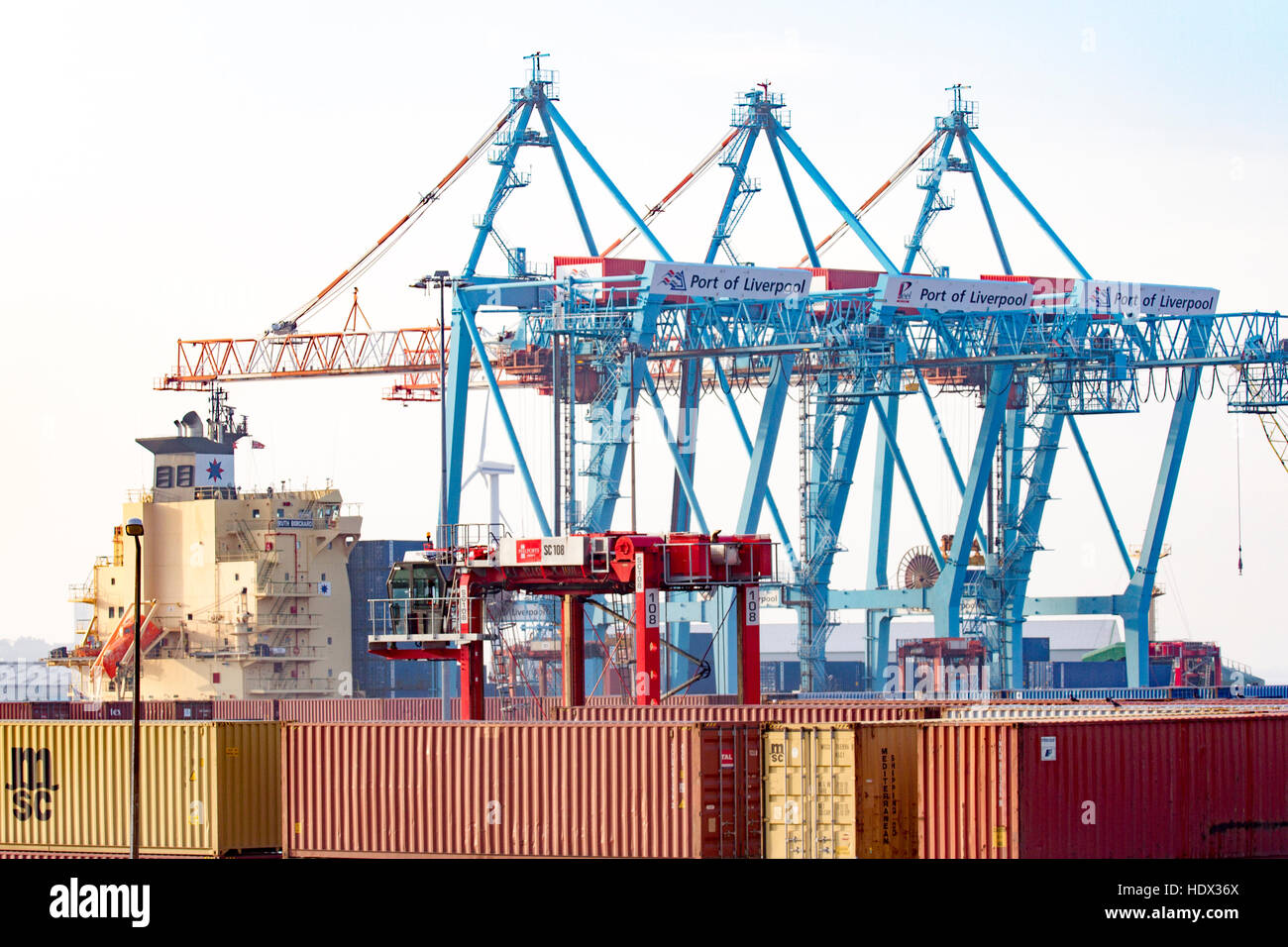 Containers & stanchion cranes at Liverpool Freeport, Merseyside, UK - Stock Image