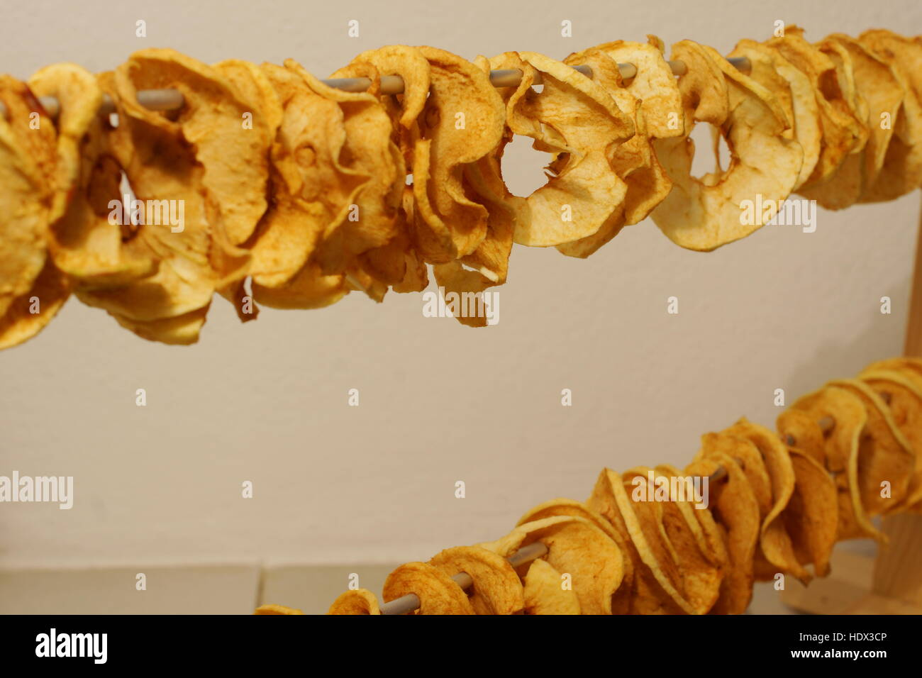 Delicous dried apple rings - Stock Image
