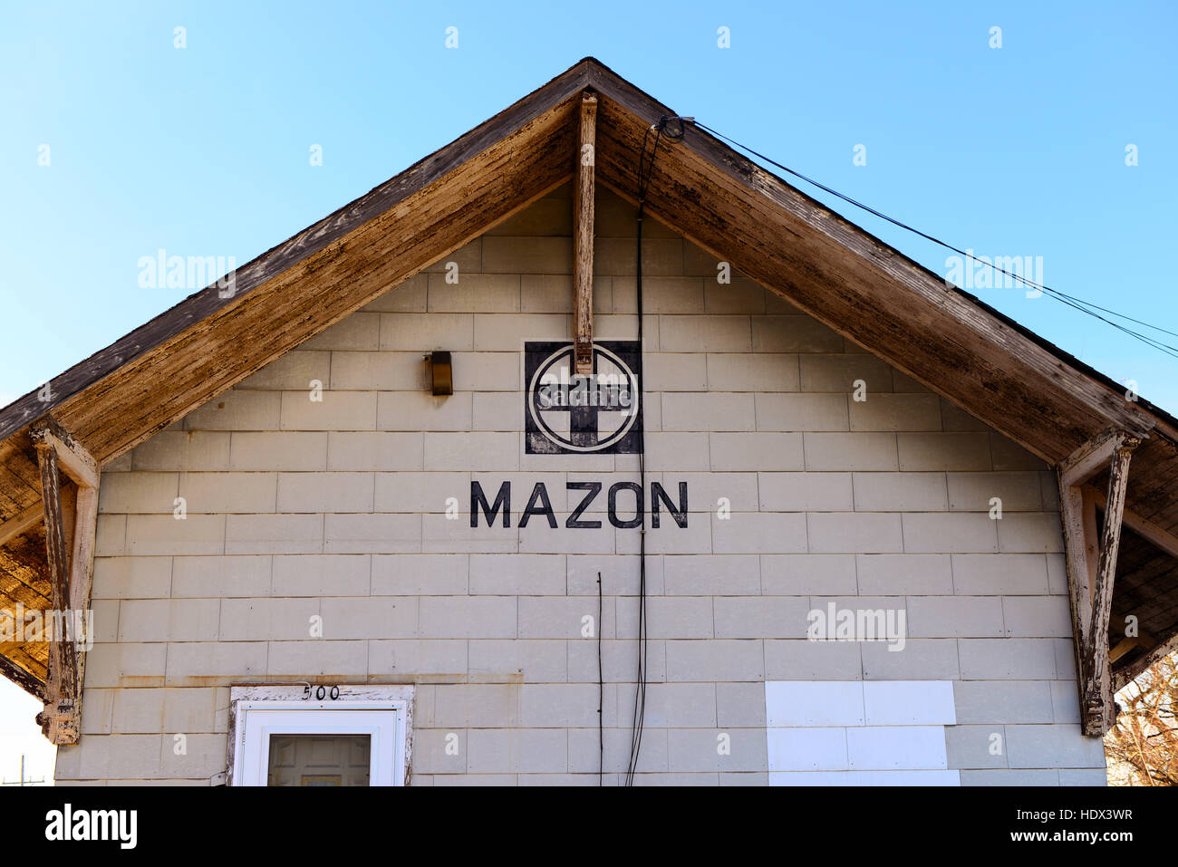 The Mazon, Illinois Sante Fe depot. - Stock Image