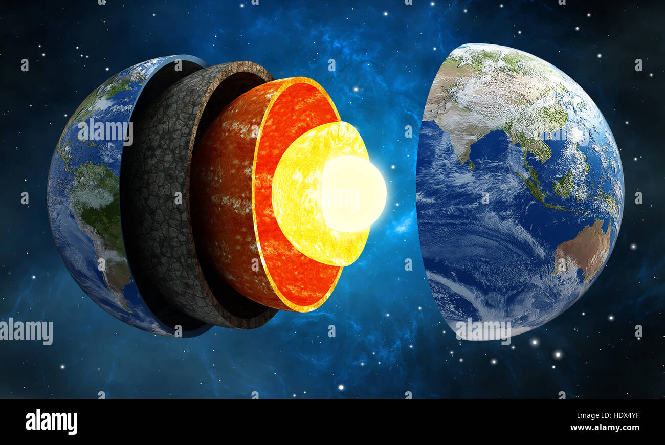 Earth layers stock photos earth layers stock images alamy 3d illustration showing layers of the earth in space stock image ccuart Images