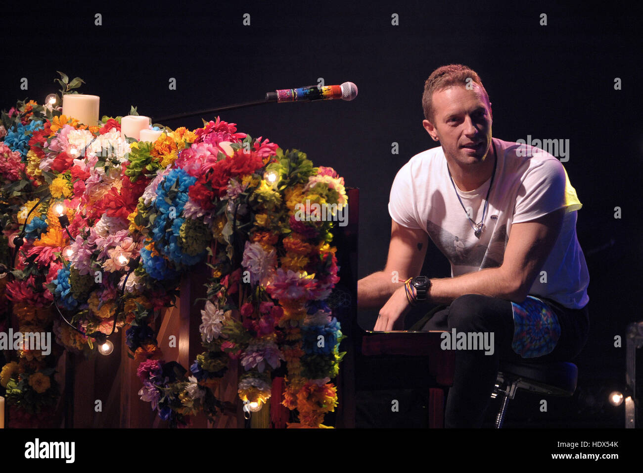 Chris Martin, band member of Coldplay, appears on the Italian television show, 'Che tempo che fa'  Featuring: Chris Stock Photo