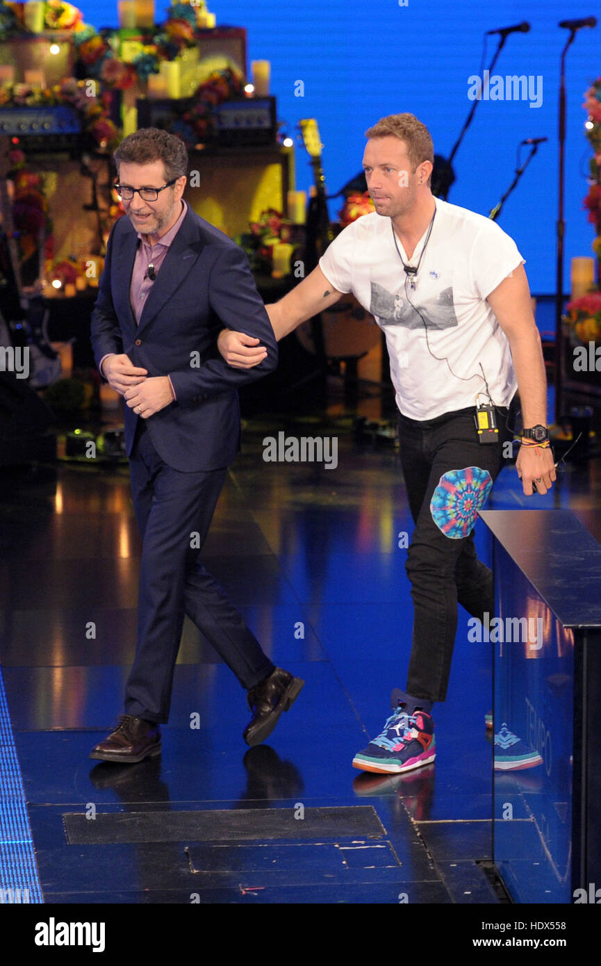 Chris Martin, band member of Coldplay, appears on the Italian television show, 'Che tempo che fa'  Featuring: - Stock Image