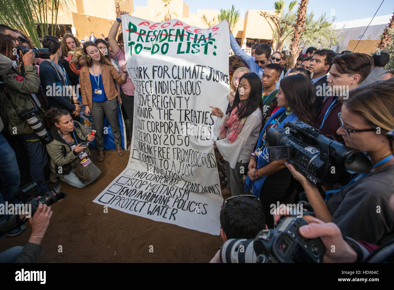 Climate Justice unveil their 'People's To-Do List', in the wake of Donald Trump being elected to the position of President Elect of the USA, during the COP22 UN Climate Change Conference being held in Marrakech, Morocco, on 9 November 2016. Stock Photo