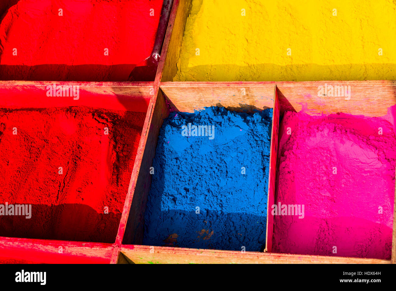 Color powder for religious use is sold at Pashupatinath Temple - Stock Image