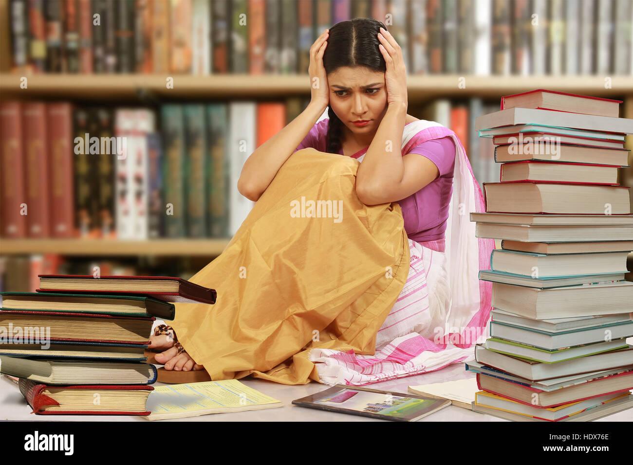 Books Pressure of a College Student - Stock Image