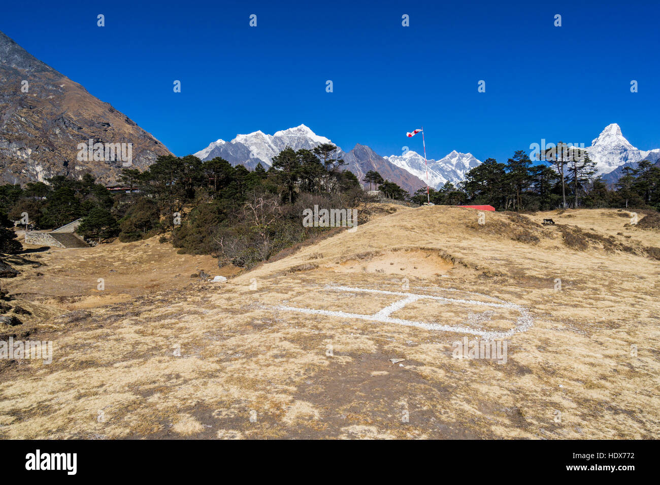 The heli pad of Everest View Hotel, located high above Namche Bazar on 3900m altitude - Stock Image