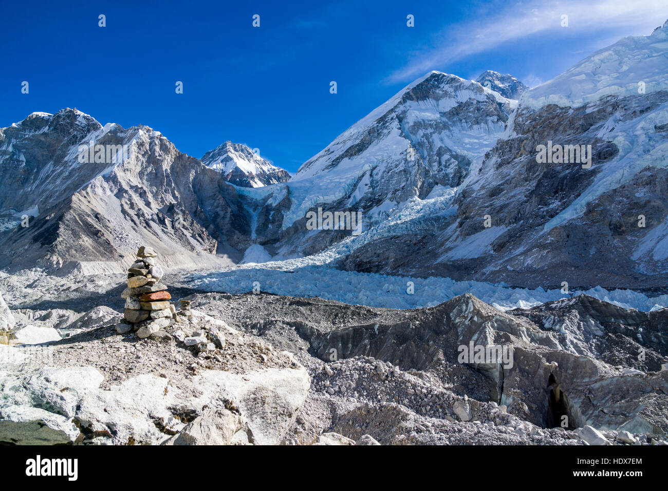 View across the Kumbhu Glacier towards the Kumbhu Icefall, the mountain Khumbutse (6665m) behind it - Stock Image