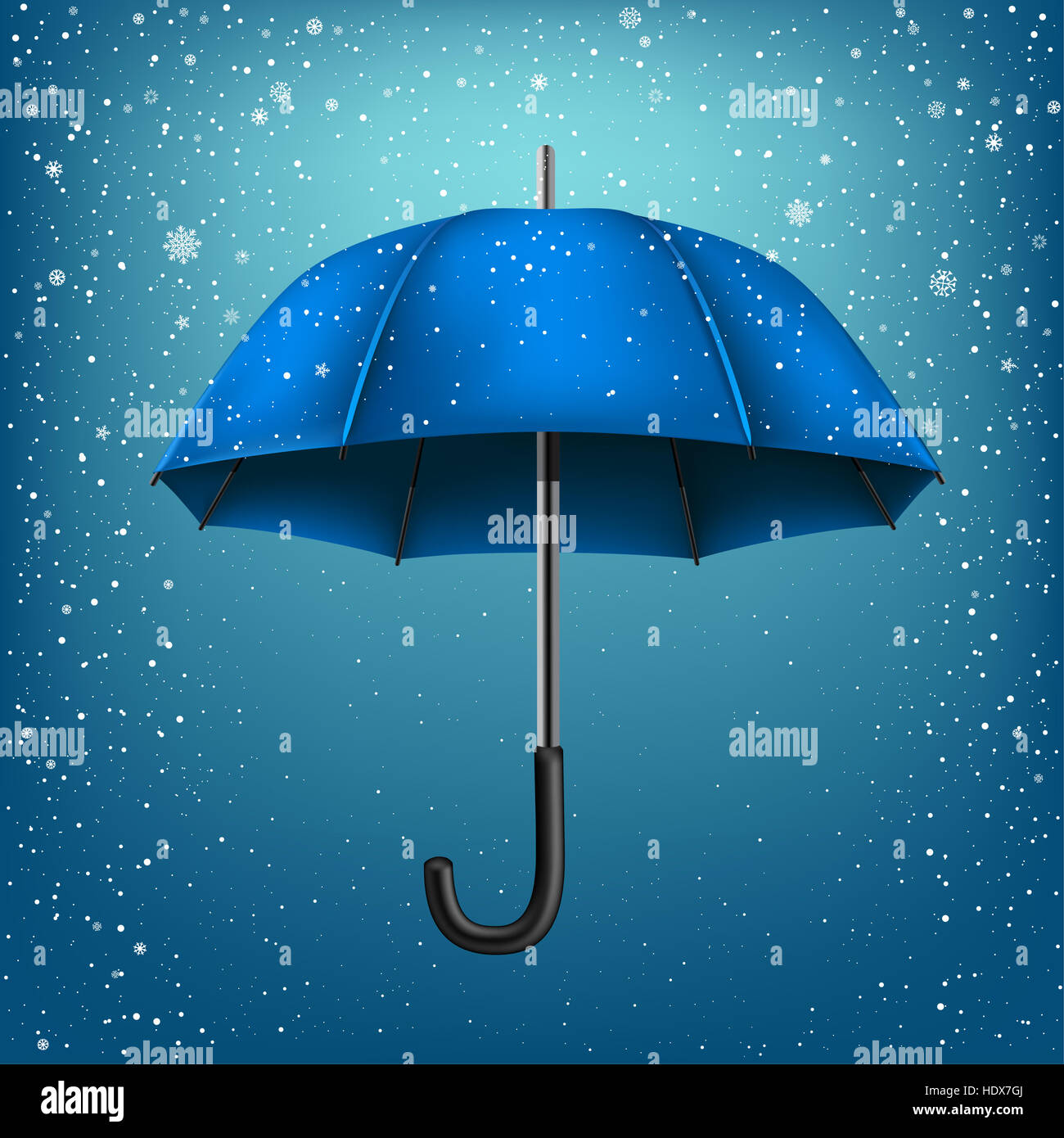 blue umbrella on blue snow background christmas and new year theme