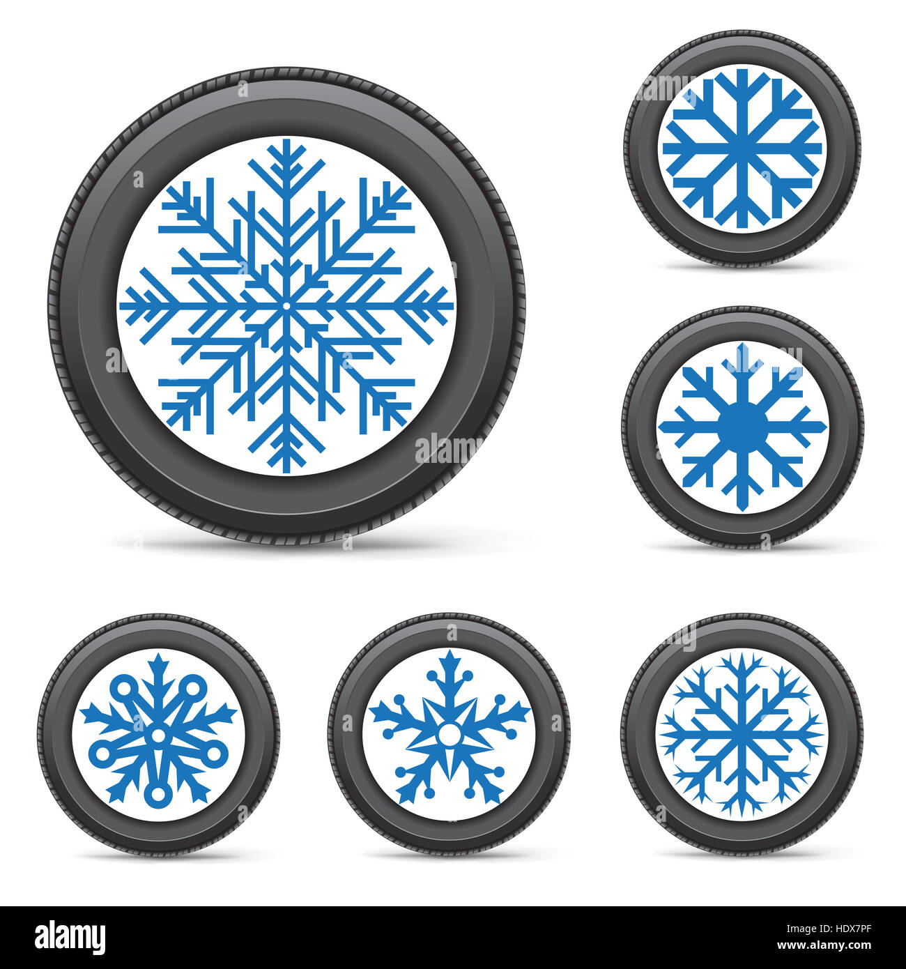 The Set Of Winter Inflated Wheels On White Background Tires With