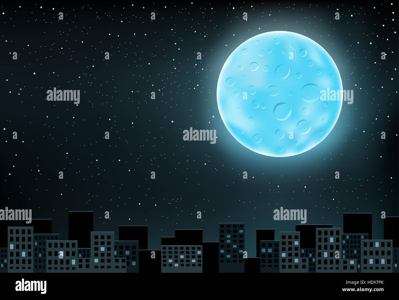The large blue shining moon over night city on stars background - Stock Image