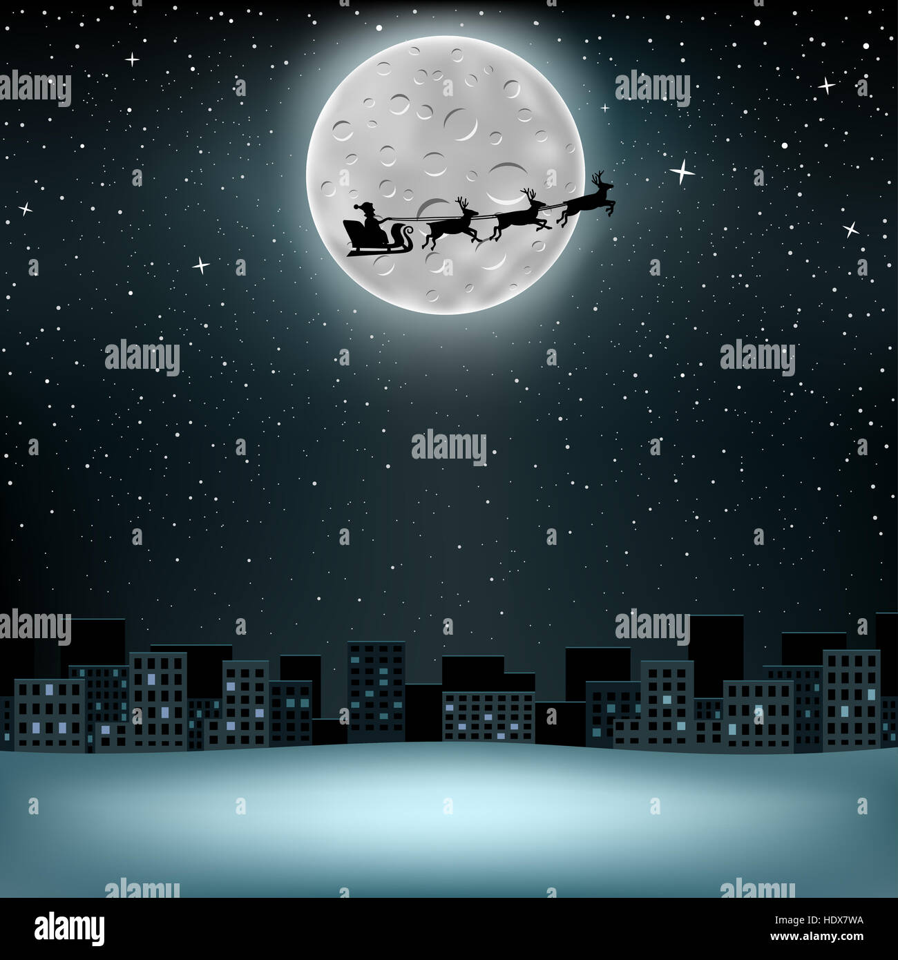 The flying Santa Claus with reindeer, large moon with craters on stars background over night city - Stock Image