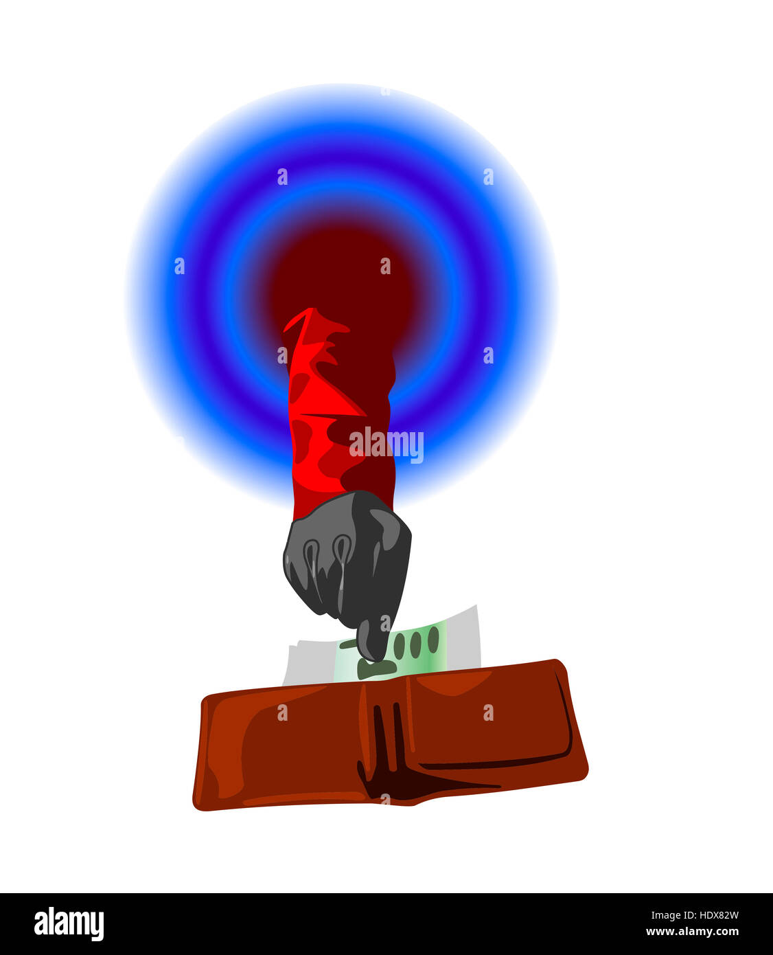 Hand wearing glove and red sleeve takes money from brown leather wallet color illustration - Stock Image