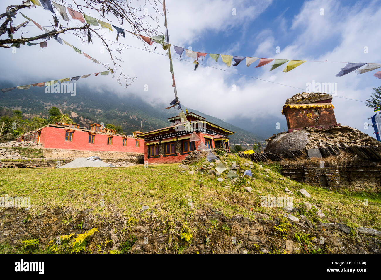 The monastery Bhandar Gompa, which was heavily damaged during the 2015 earthquake, is getting rebuild - Stock Image