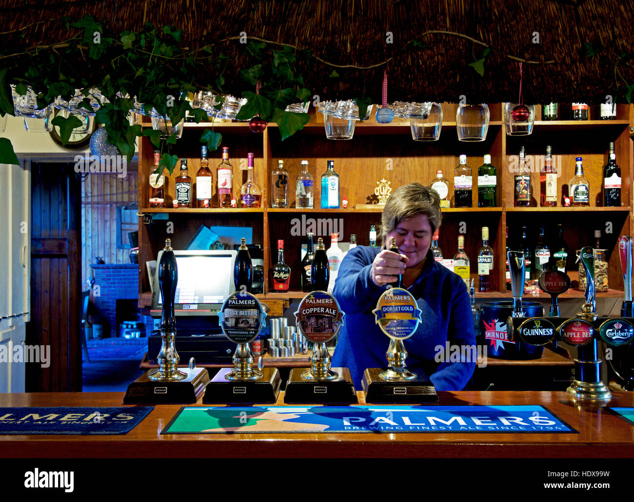 Landlady pulling pint of beer in the Three Horseshoes Inn, in the village of Powerstock, Dorset, England UK - Stock Image