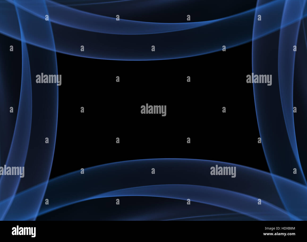 Abstract Blue Flame Smoke Frame Over Black Background With