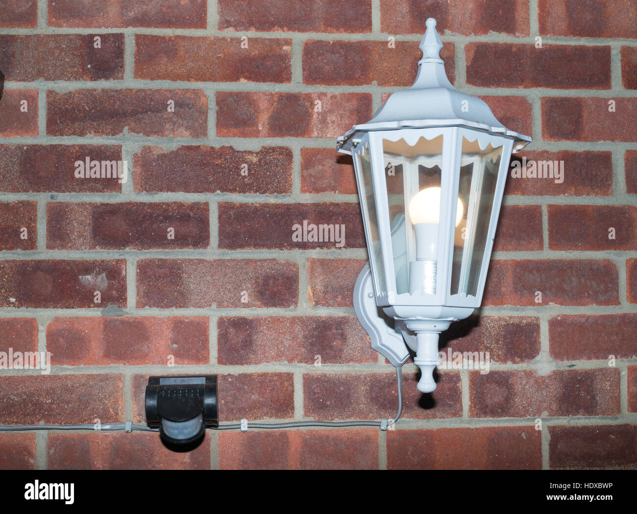 outdoor lantern with led bulb controlled by pir motion sensor
