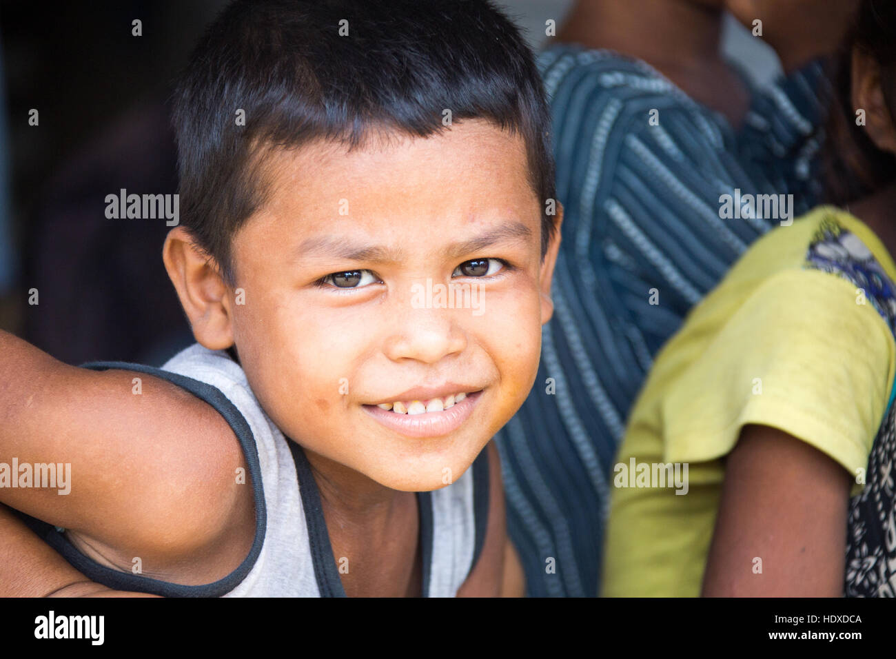 Young boy in a small village in the Terai region of Nepal - Stock Image