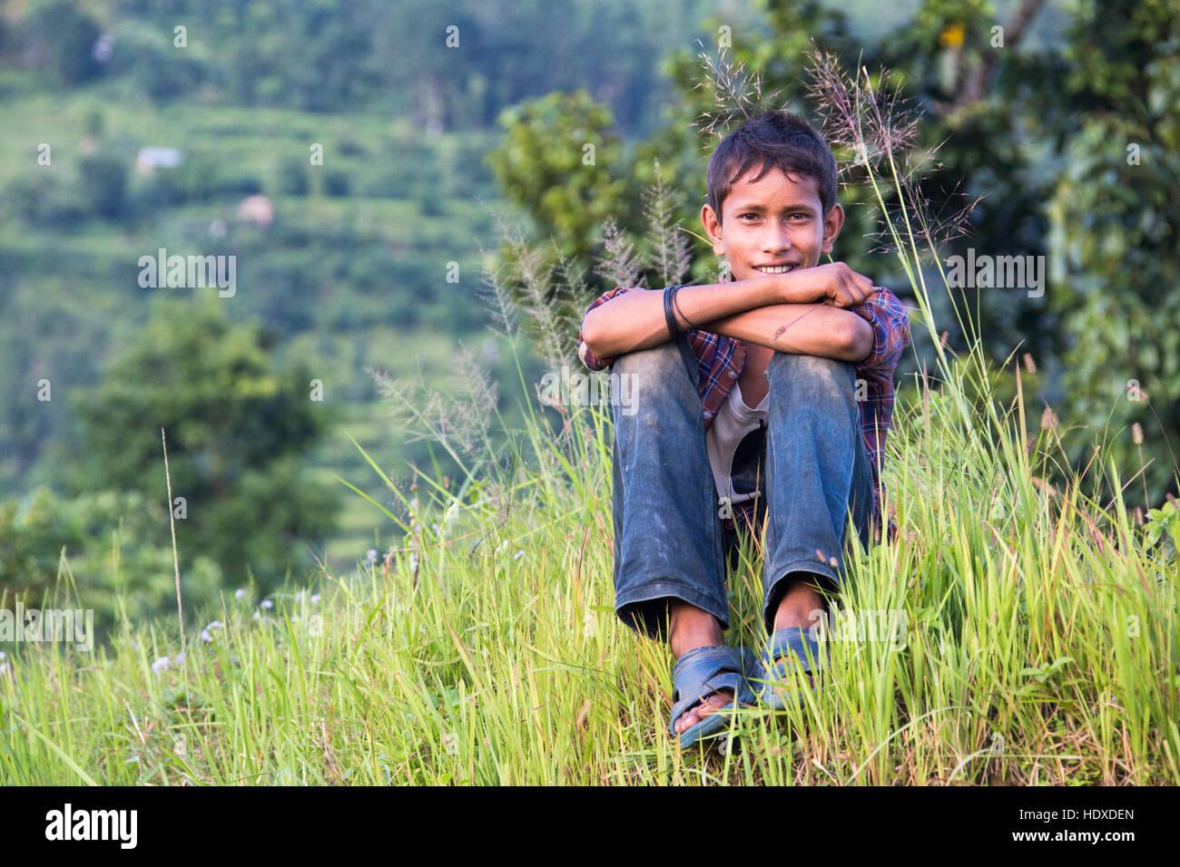 Nepali boy near Pokhara, Nepal - Stock Image