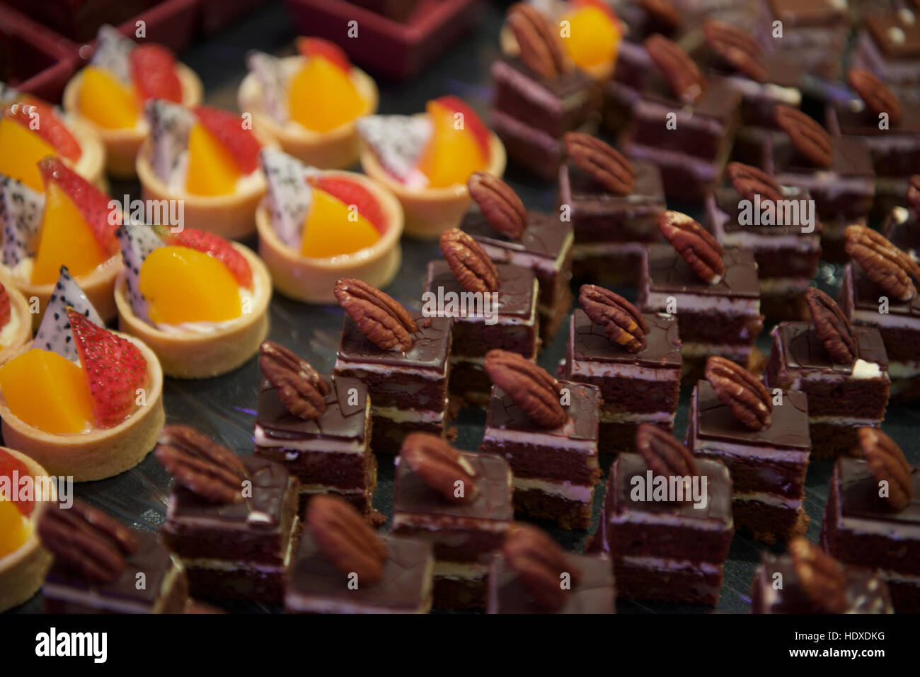 Sweet Dessert canapes food in hotel restaurant - Stock Image
