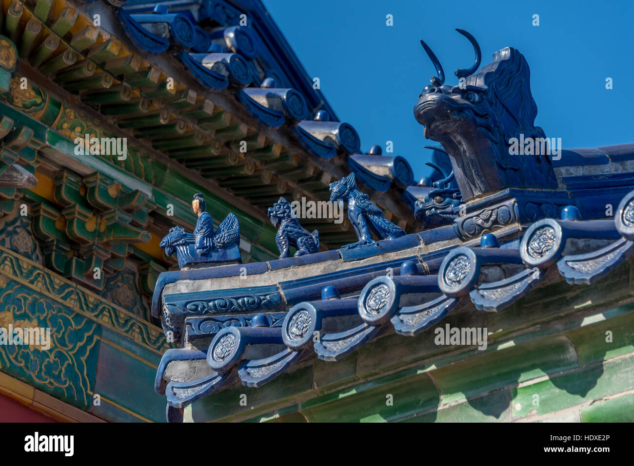 Detail of figures on blue ceramic roof tile at Temple of Heaven ...