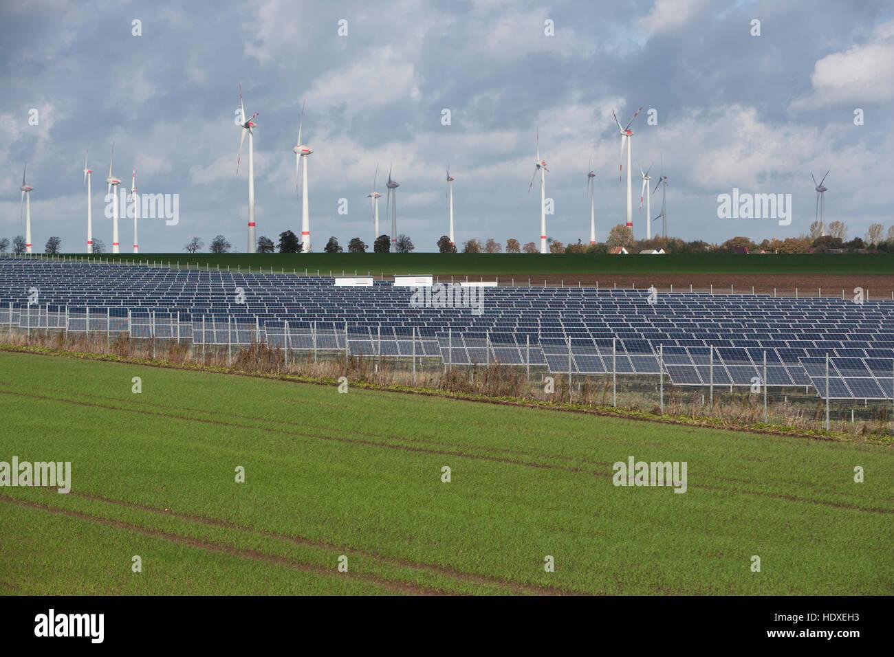 renewable energy at a20 motorway, mecklenburg-western pomerania, germany - Stock Image