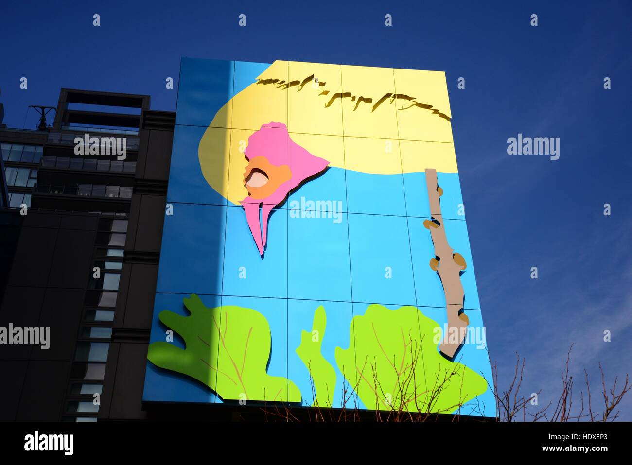 Artwork on a building in Euston, London - Stock Image
