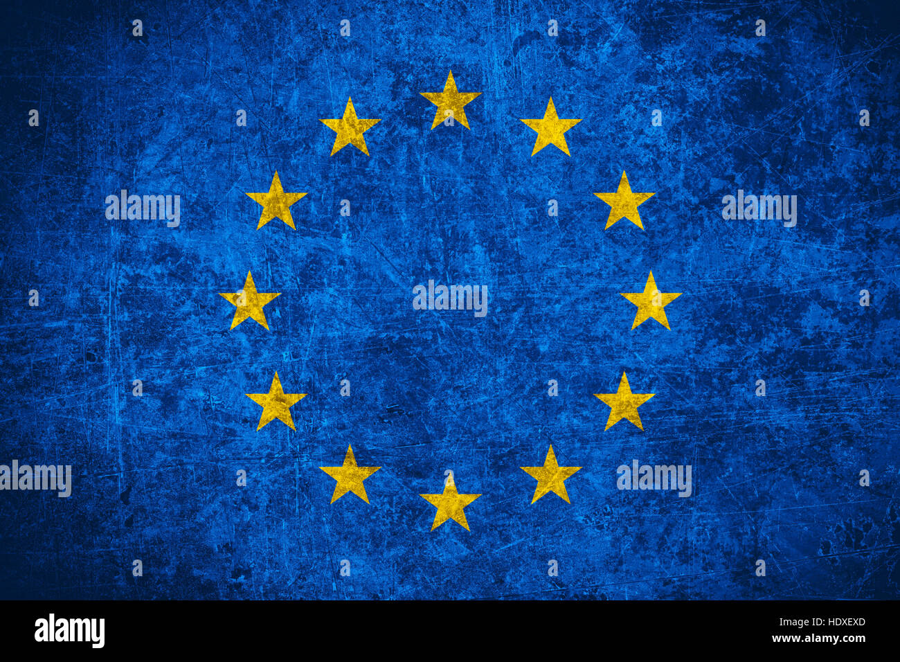 flag of European Union or Europe banner on scratched vintage texture - Stock Image