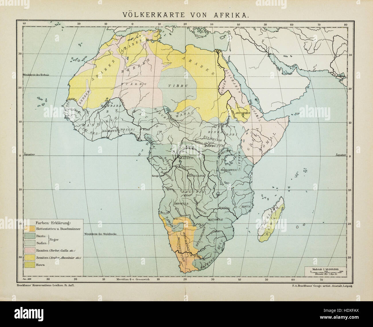 Vintage map of Africa population density before 1900 Stock Photo