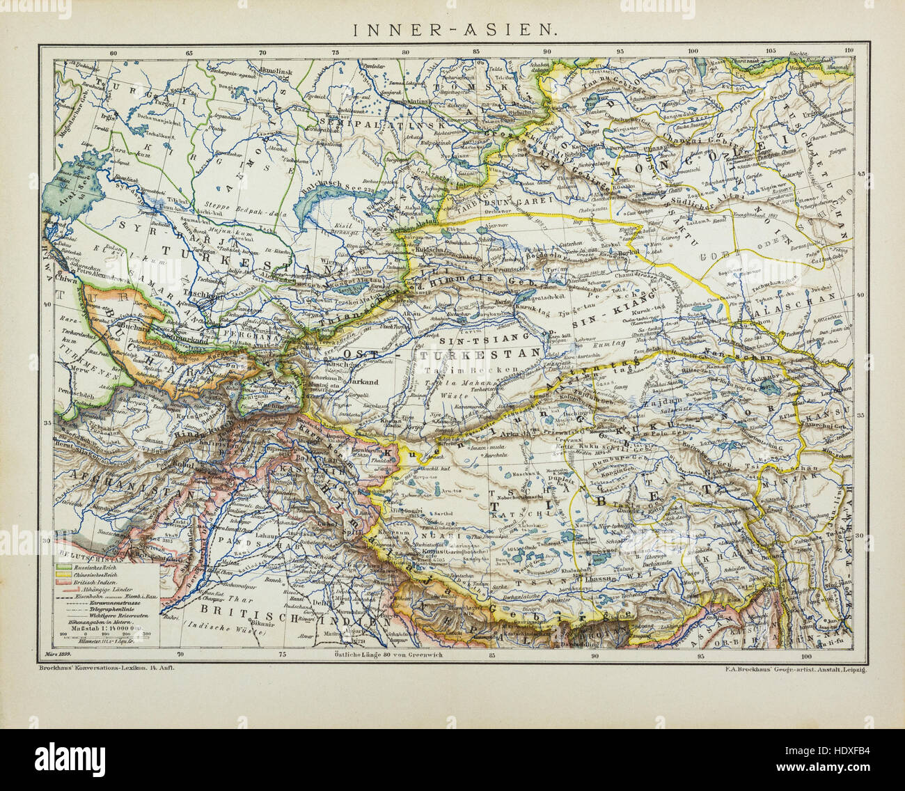 Central Asia antique map - Stock Image
