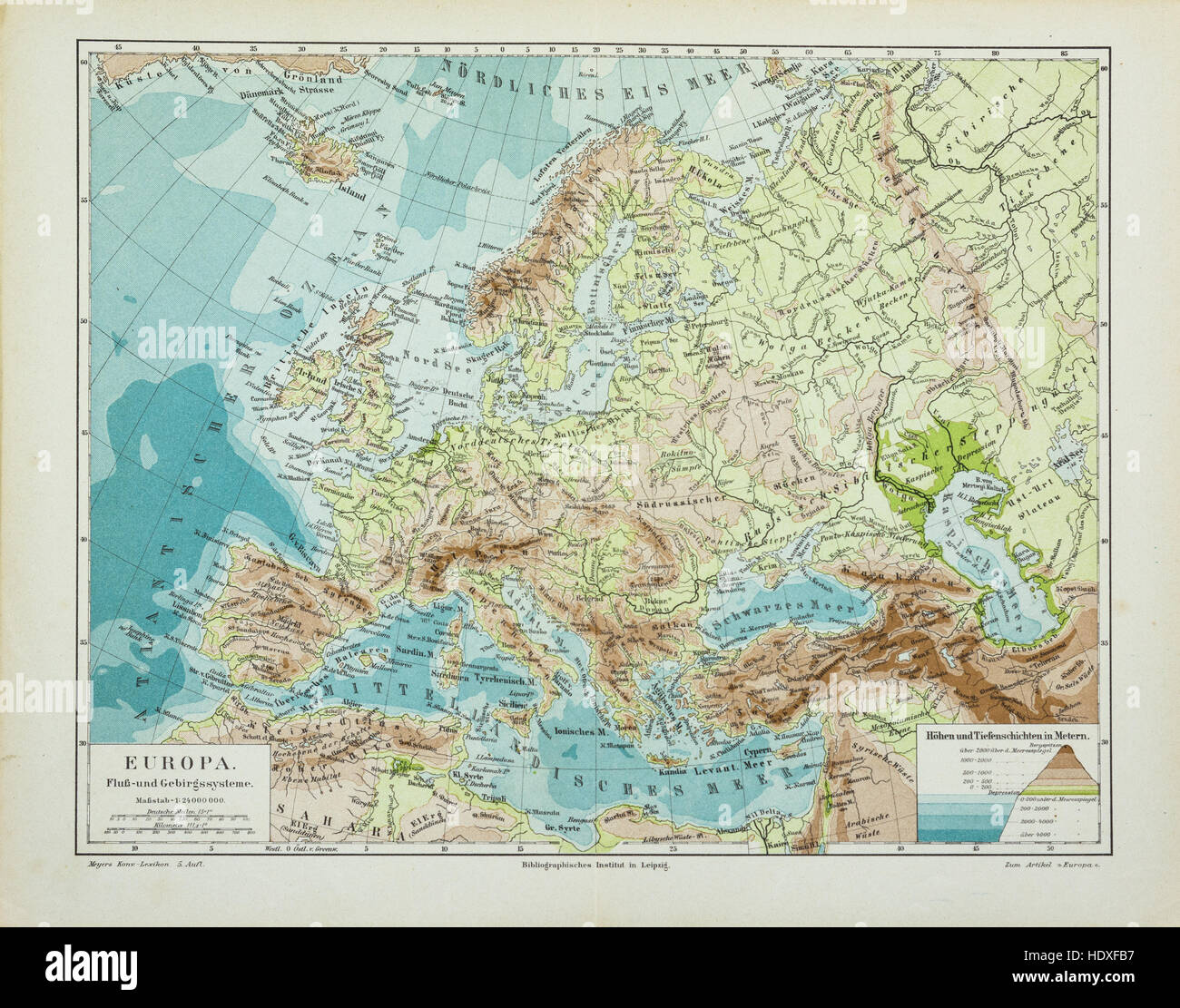 Old and vintage map of Europe - Stock Image