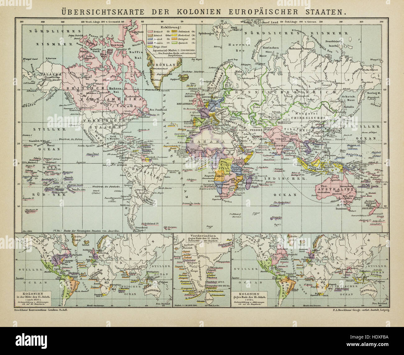 Antique map world colonies of the European states in the 19th Century, from the German Brockhaus Conversation Encyclopedia - Stock Image