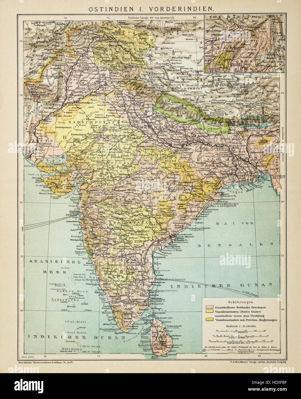 Old And Vintage Map Of India At 1900 Stock Photo 129045939 Alamy
