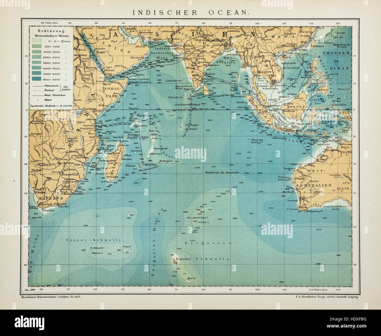 Indian Ocean old, antique map, vintage look - Stock Image