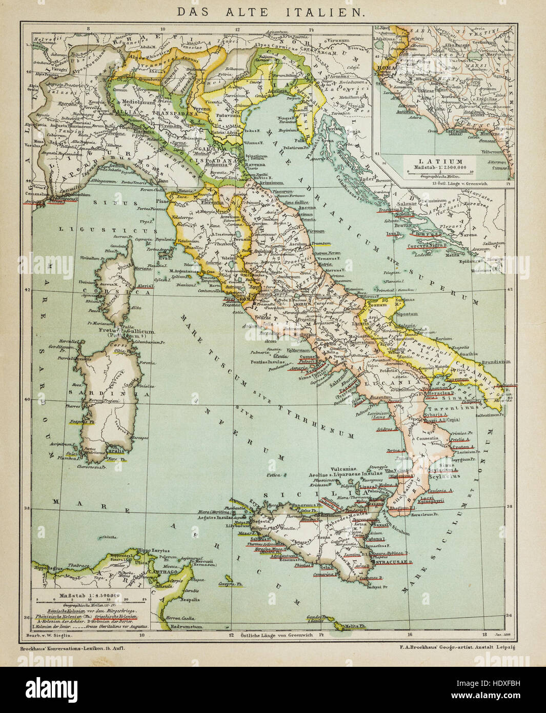 Old vintage map of Italy in the 19th century - Stock Image