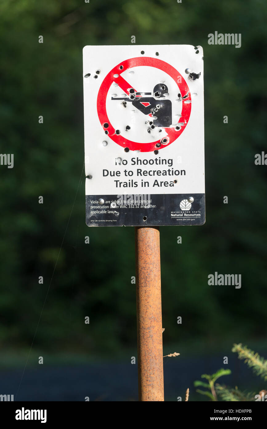 No shooting sign, Capital State Forest, Washington. - Stock Image
