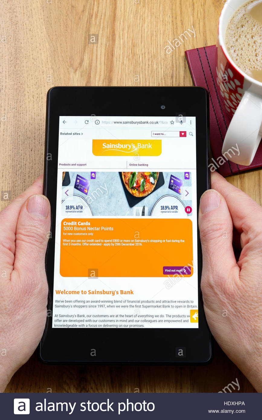 Sainsbury S Mobile Banking App On An Android Tablet Pc Dorset Stock Photo Alamy