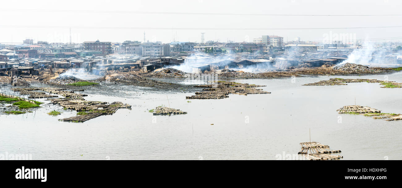The floating slums of Lagos, Nigeria - Stock Image