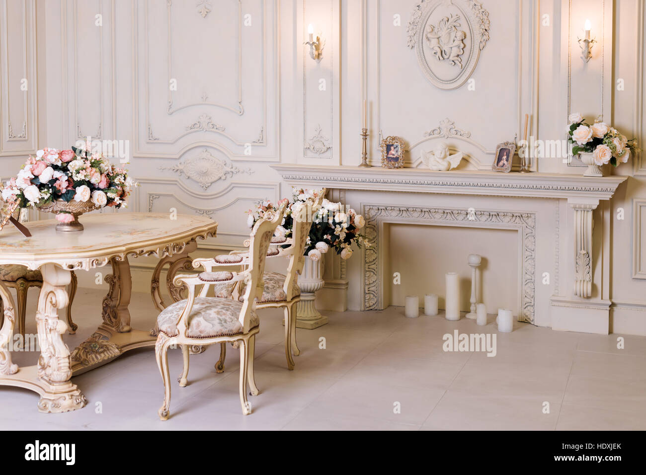 Luxury Apartment Comfortable Classic Living Room Luxurious Vintage Interior With Fireplace In The Aristocratic Style