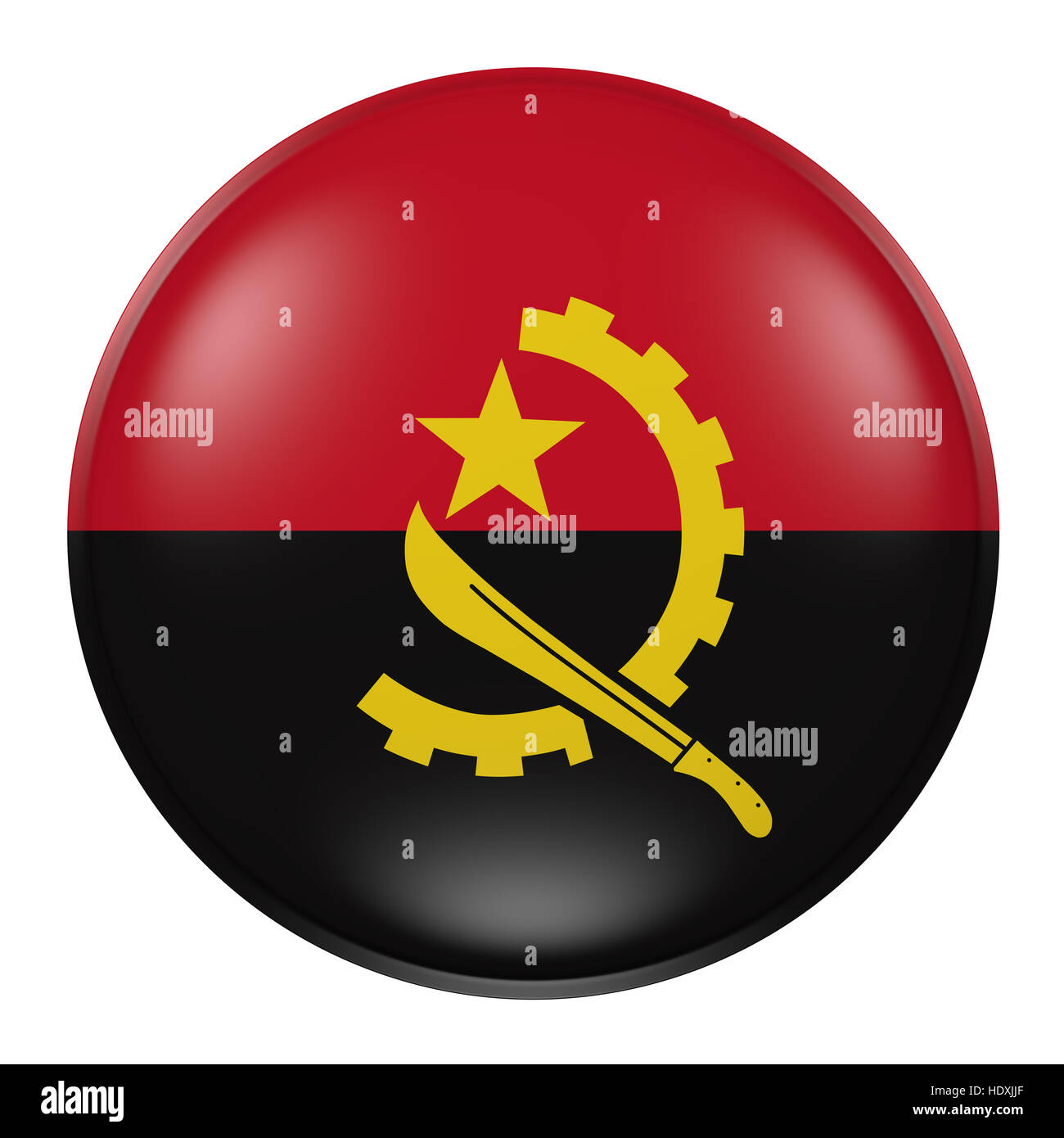 3d rendering of an Angola flag on a button - Stock Image