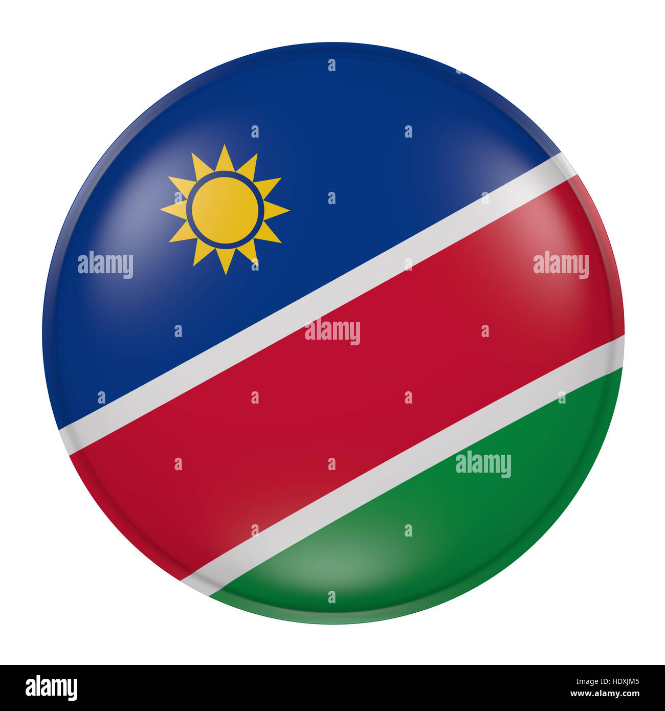 3d rendering of a Namibia flag on a button - Stock Image