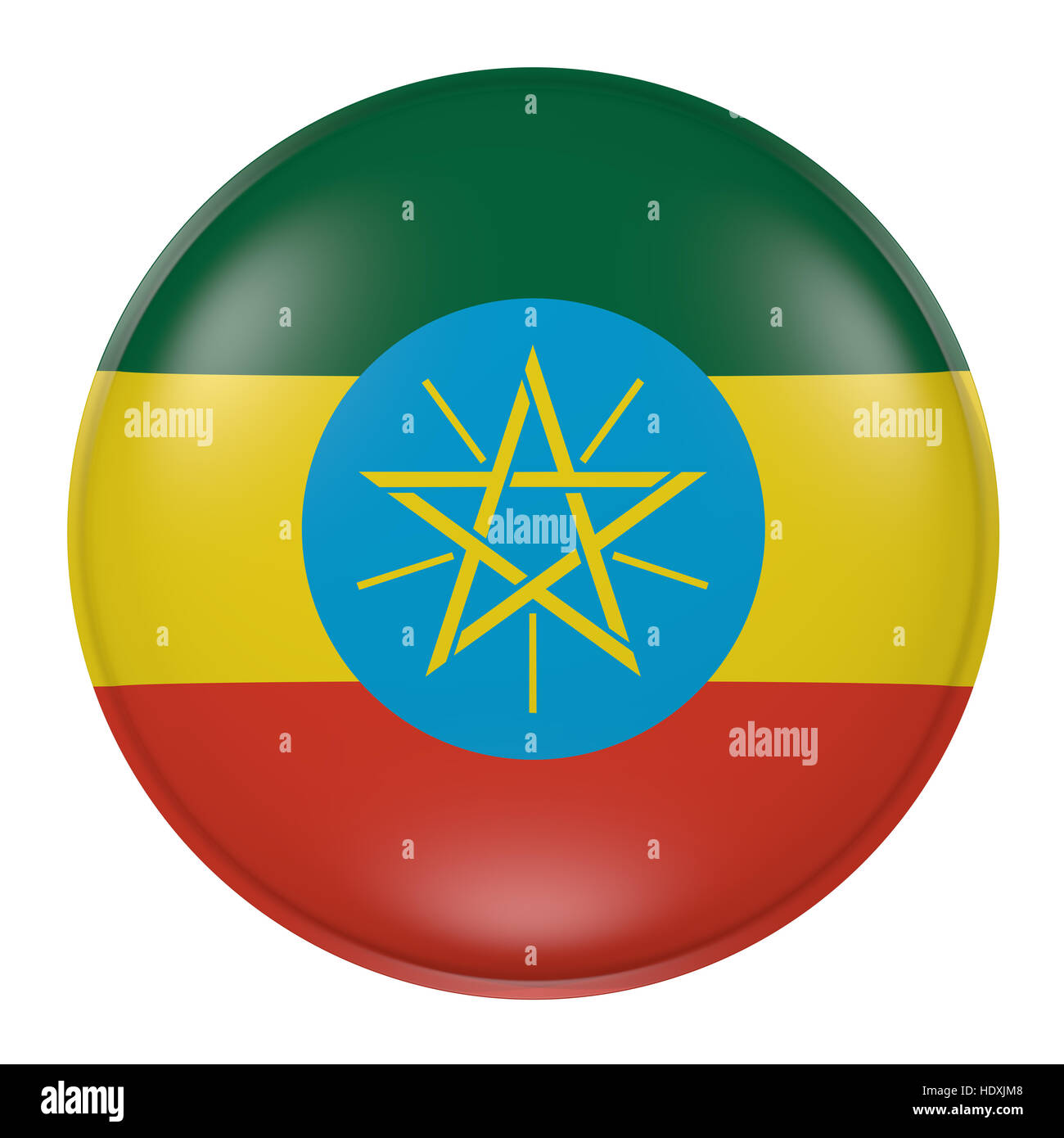 3d rendering of an Ethiopia flag on a button - Stock Image