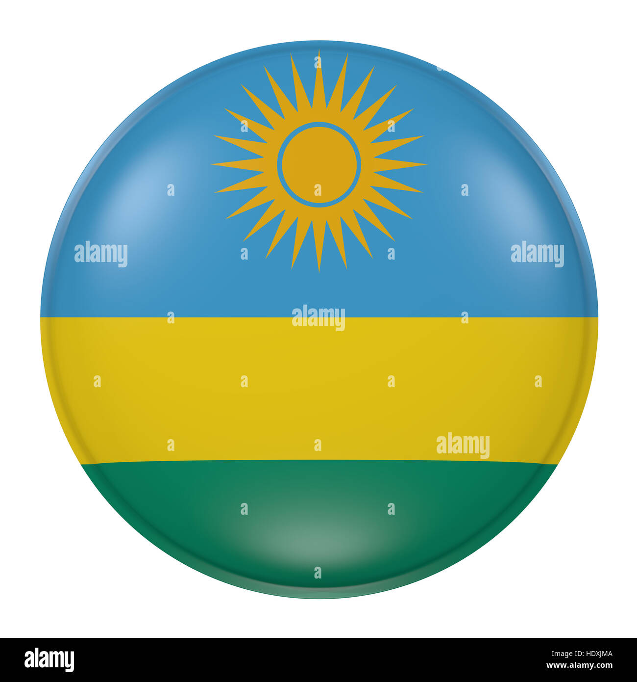 3d rendering of a Rwanda flag on a button - Stock Image