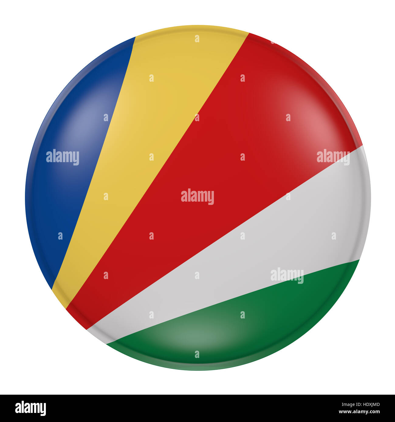 3d rendering of a Seychelles flag on a button - Stock Image
