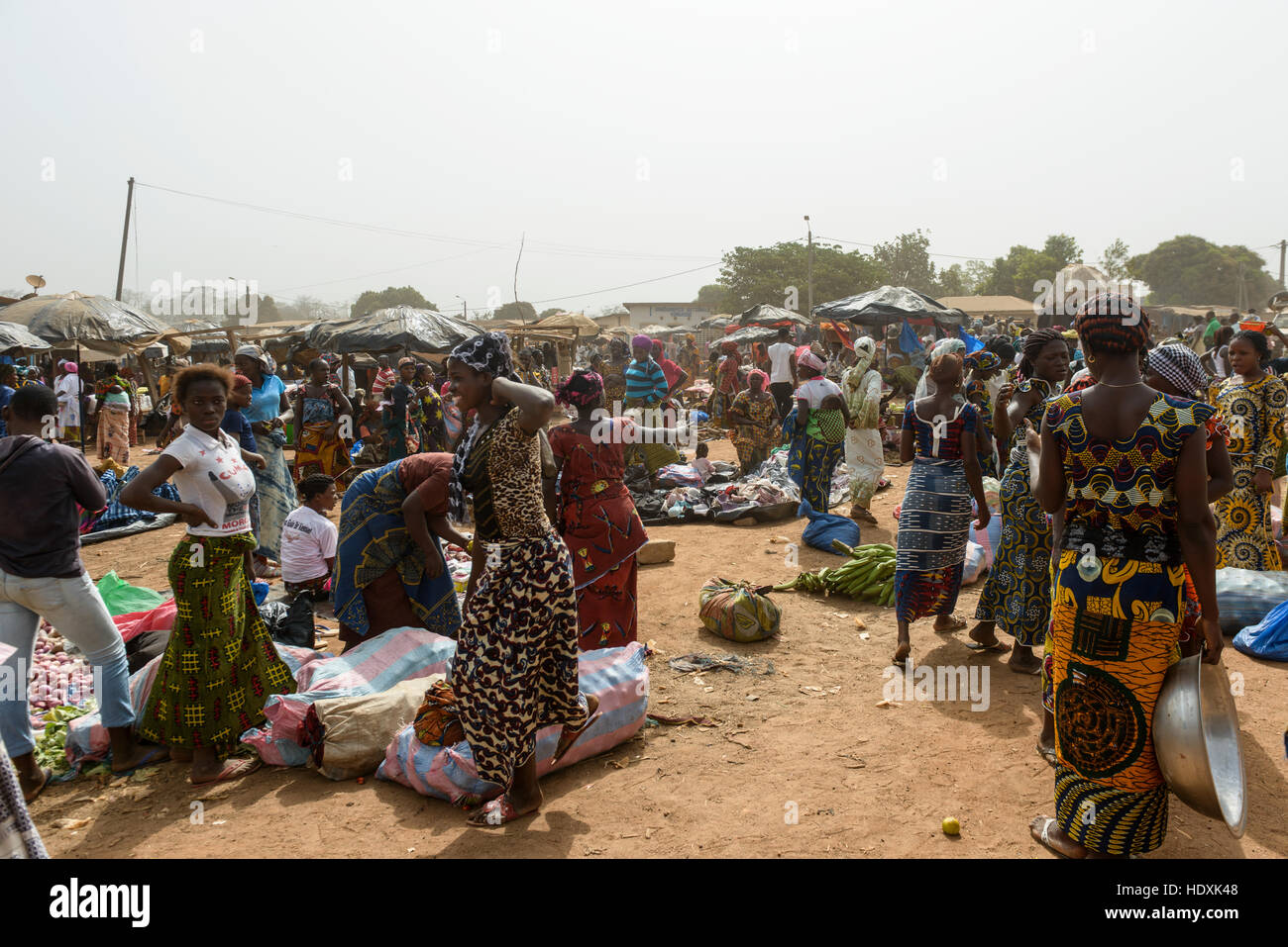 Village markets in northern Cote D'Ivoire (Ivory Coast) - Stock Image