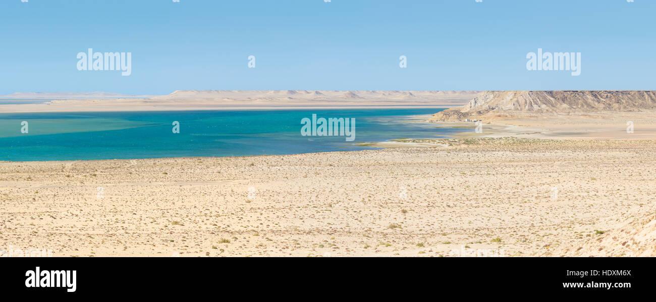 When the Sahara meets the Atlantic Ocean, Western Sahara Stock Photo